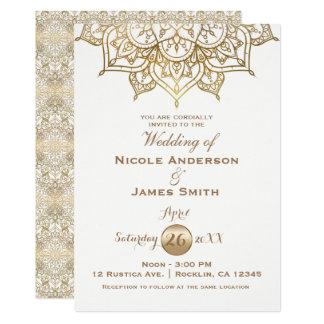 Gold Mandala White Modern Elegant Minimal Wedding Card