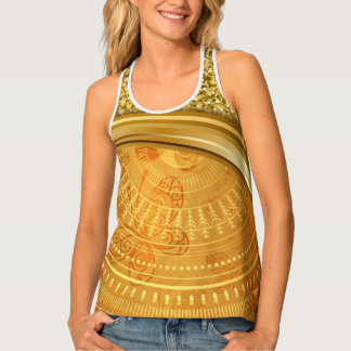 Gold Mandala with Glitter and Butterflies Tank Top