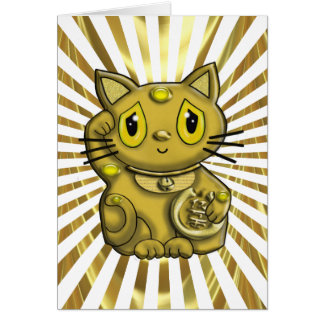 Gold Maneki Neko Lucky Beckoning Cat Greeting Card