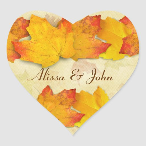 Gold Maple Leaves Couples Heart Sticker