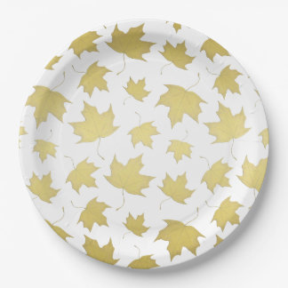 GOLD MAPLE LEAVES - Paper plates 9 Inch Paper Plate
