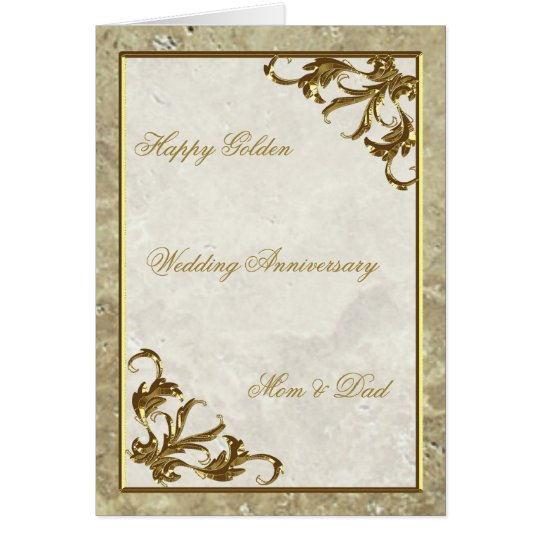 Gold Marble 50th Wedding Anniversary Greeting Card