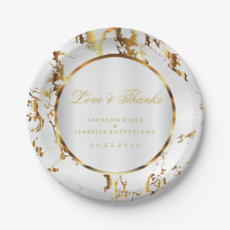 Gold Marble and White Satin Paper Plate