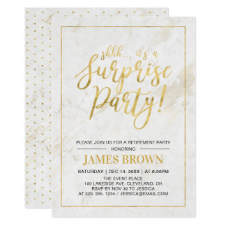 Gold & Marble | Modern Surprise Retirement Party Card