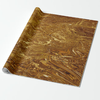 Gold Marble Molten Glam Shiny Wrapping Paper