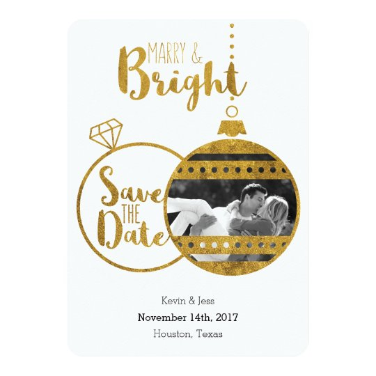 Gold, Marry and Bright Christmas Save the Dates