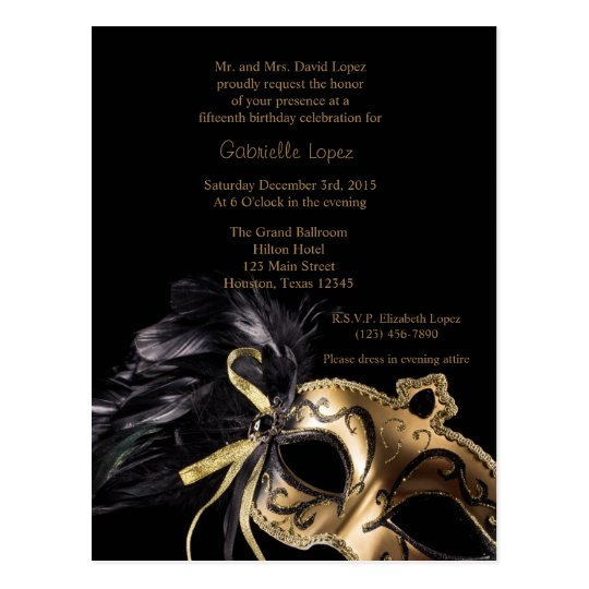 Gold Masquerade Ball Quinceanera 15th Birthday Postcard