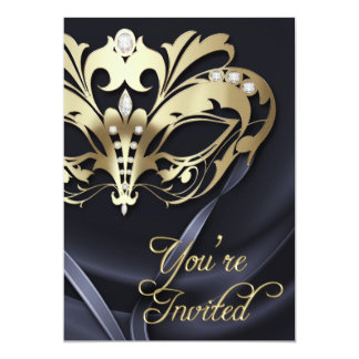 Gold Masquerade Black Jeweled Party Invitation
