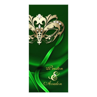 Gold Masquerade Green Jeweled Wedding Program Rack Card