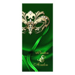 Gold Masquerade Green Jewelled Wedding Program Personalized Rack Card