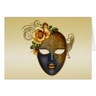 Gold Masquerade Mask and Rose Greeting Card