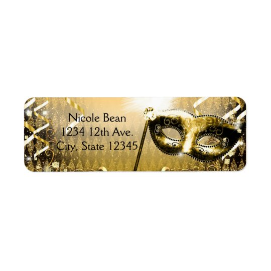 Gold Masquerade Mask Elegant Ball Birthday Party Return Address Label