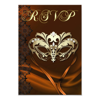 Gold Masquerade Orange Jeweled RSVP Invitation