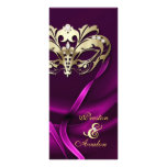 Gold Masquerade Pink Jewelled Wedding Program Rack Card