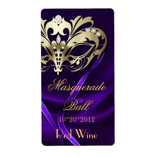 Gold Masquerade Purple Jewelled Holiday Wine Label