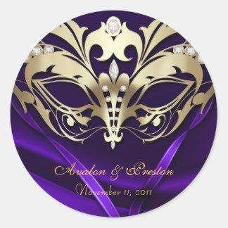 Gold Masquerade Purple Wedding Sticker