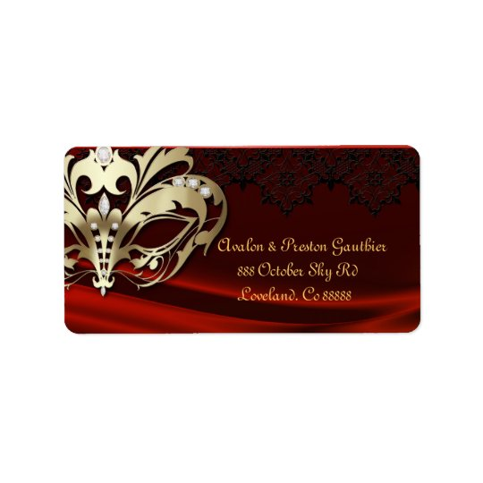 Gold Masquerade Red Jewel Wedding Address Label
