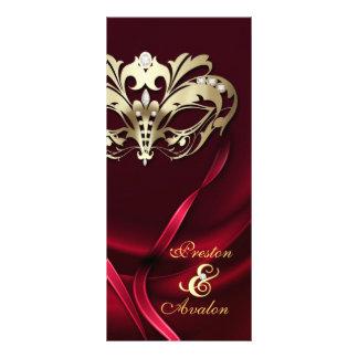 Gold Masquerade REd Jeweled Wedding Program Custom Rack Cards