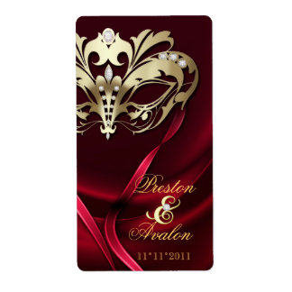 Gold Masquerade Red Jeweled Wedding Wine Label Shipping Label