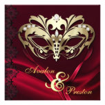 Gold Masquerade Red Jewelled Wedding Personalized Announcement