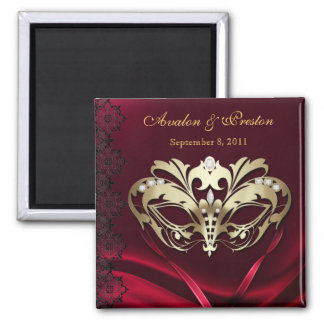 Gold Masquerade Red Save The Date Magnet