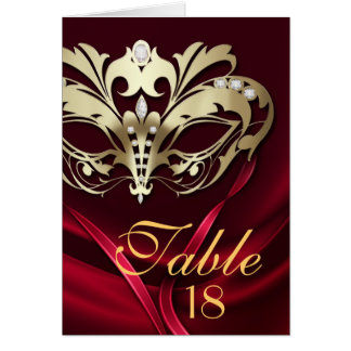 Gold Masquerade Red Table Number Card