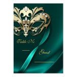 Gold Masquerade Teal Jewelled Table PlaceCard Business Card Templates