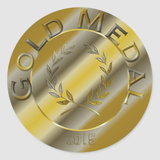 Gold Medal with year option Round Sticker