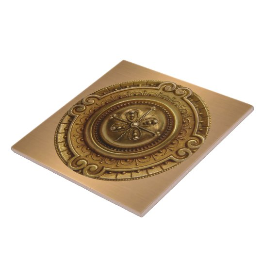 Gold Medallion Large Square Tile