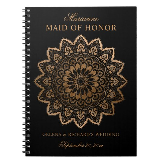 Gold Medallion Shimmer Mandala Black Bridesmaid Notebook