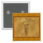 Gold Medical Caduceus 15 Cm Square Badge