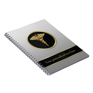 Gold Medical Caduceus - Notebook