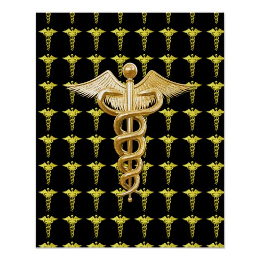 Gold Medical Caduceus Poster