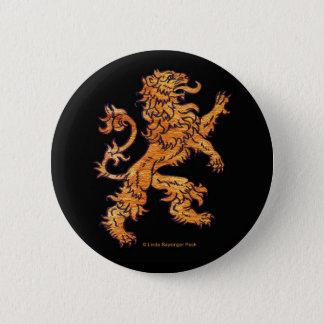 Gold Medieval Lion on Black 6 Cm Round Badge