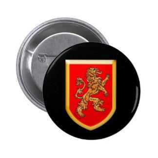 Gold Medieval Lion Shield 6 Cm Round Badge