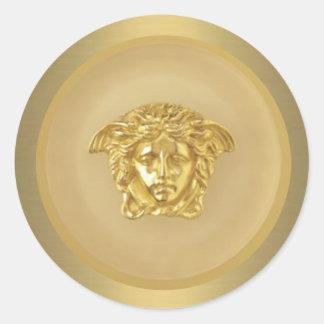 Gold Medusa Medallion Classic Round Sticker