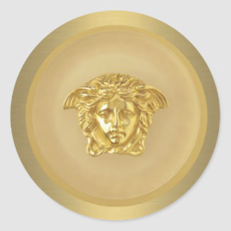 Gold Medusa Medallion Round Sticker
