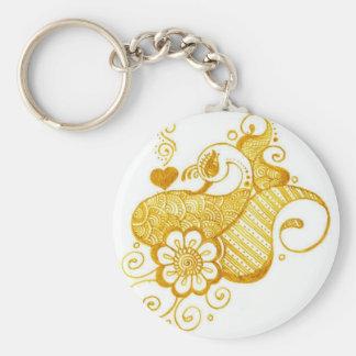 Gold Mehndi henna art Keychains