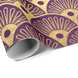 Gold Mermaid Plum Purple Plum Scales Art Deco Shel Wrapping Paper