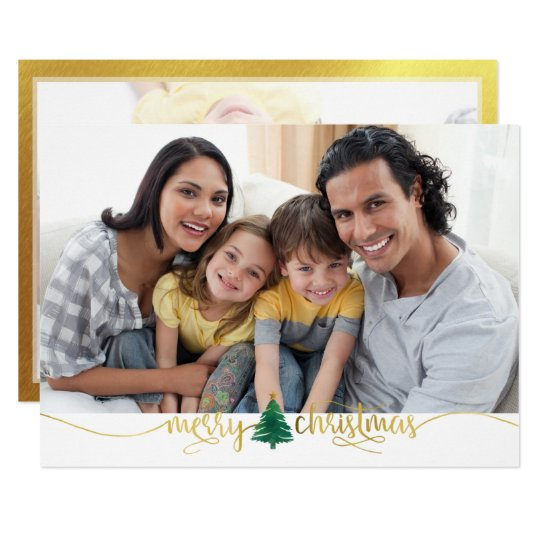 Gold Merry Christmas, 2-Photo Frosted Overlay Back Card