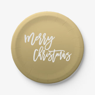 Gold Merry Christmas   Holiday Paper Plate