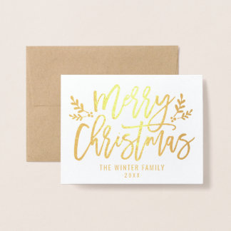 Gold Merry Christmas | Holiday Photo Foil Card