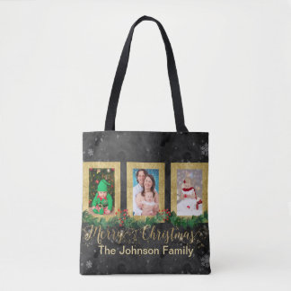 Gold Merry Christmas Photo Tote Bag
