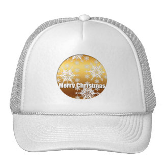Gold Merry Christmas Snowflakes - Cap