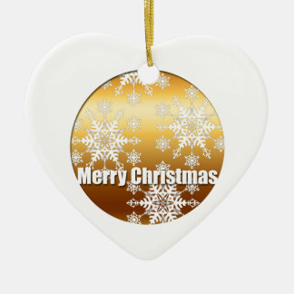 Gold Merry Christmas Snowflakes Heart Ornament