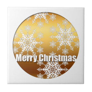 Gold Merry Christmas Snowflakes - Small Square Tile