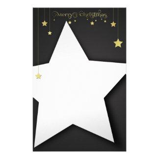 Gold Merry Christmas Stars Stationery Letterhead