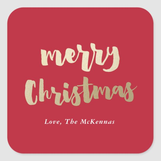 Gold Merry Christmas sticker faux foil