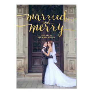 GOLD MERRY & MARRIED | HOLIDAY PHOTO CARD 13 CM X 18 CM INVITATION CARD