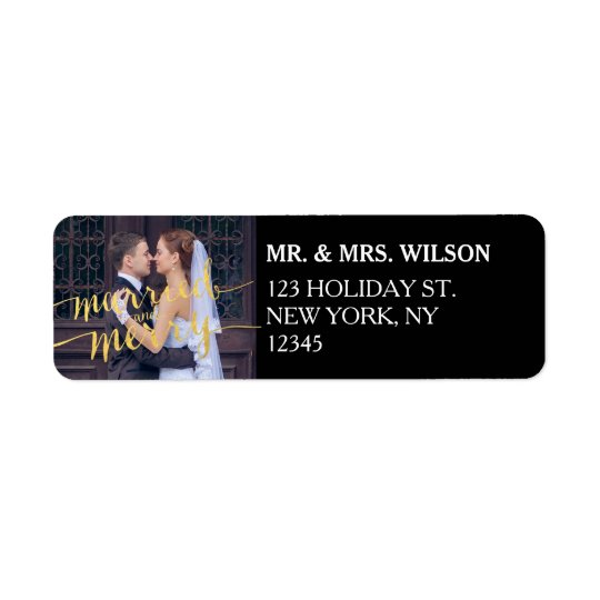 Gold Merry Married Holiday Return Address Label